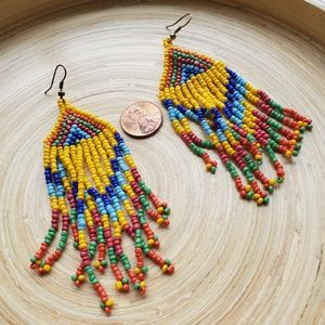 Vintage beaded festival boho earrings